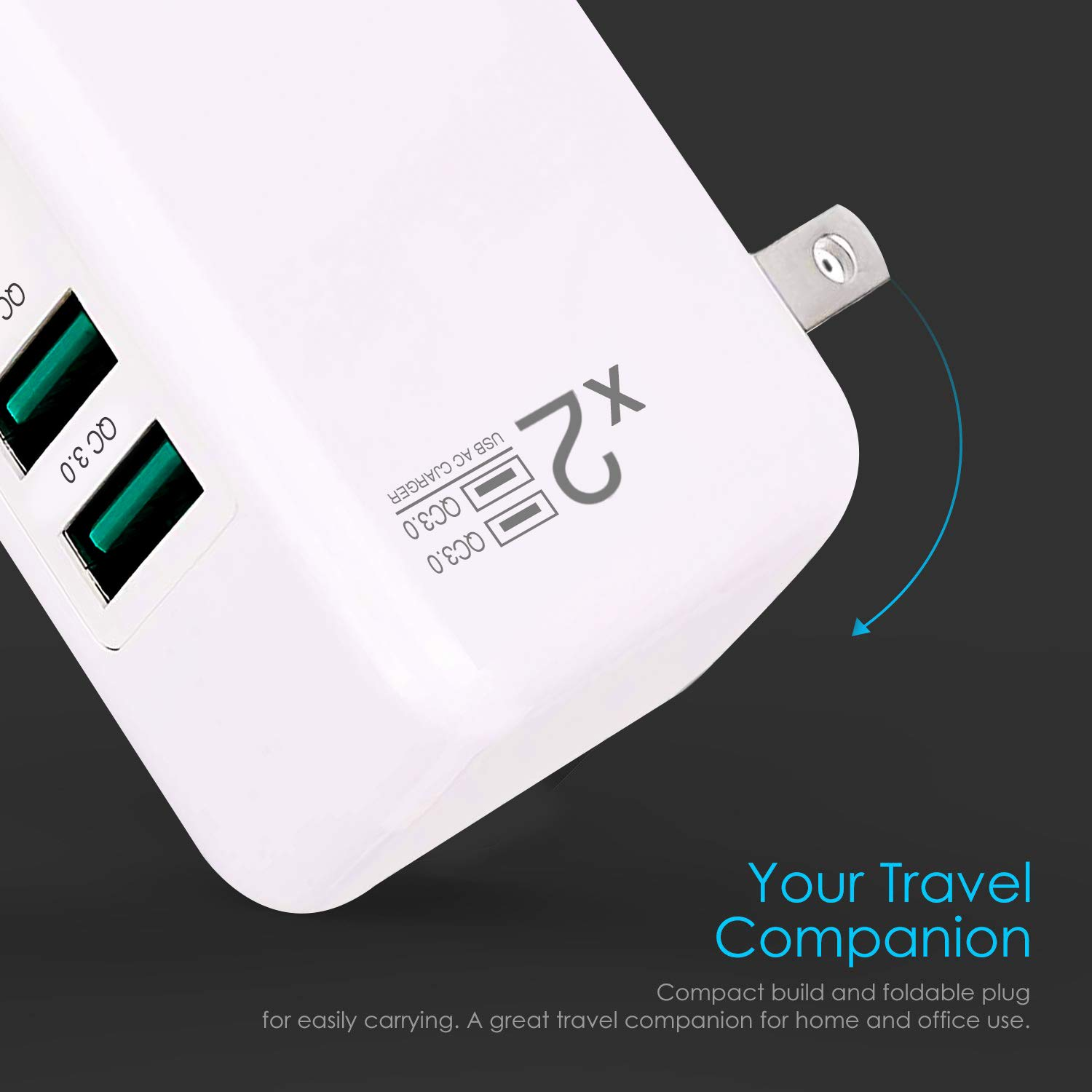 QC3.0=2USB Dual Quick Charge3.0 USB Wall Charger Adapter Charging Block Plug,30WTravel QC2.0 SmartPorts+Foldable Plug for SamsungS9S8 Note8,iPhoneX//8iPad LGNexusHTC/&More