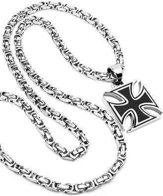 Schmuck Checker Eisernes Kreuz Anhänger silber schwarz aus massivem 316L Edelstahl + 60cm Königskette Bikerkreuz Bikerschmuck Herren Halskette Männer