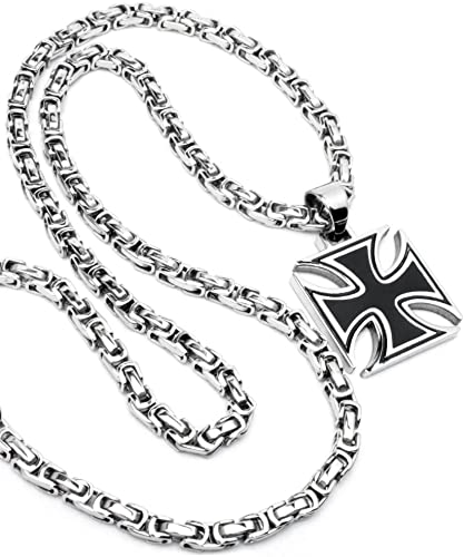 Schmuck Checker Eisernes Kreuz Anhänger Silber Schwarz Aus Massivem 316l Edelstahl 60cm Königskette Bikerkreuz Bikerschmuck Herren Halskette Männer Geschenk Schmuck