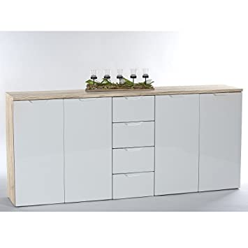 Sideboard Kommode Roy 4 Eiche San Remo Hell Mdf Weiss Hochglanz 4