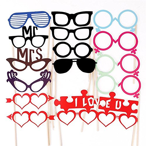 Brotrade Photo Booth Props DIY Kit for Wedding Birthday Parties Dress-up Accessories & Party Favors (49 PCS)