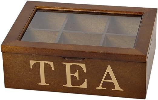 6 compartimentos 1,8 L – Caja de té marrón cristal Diana Tapa caja caja caja para guardar: Amazon.es: Hogar
