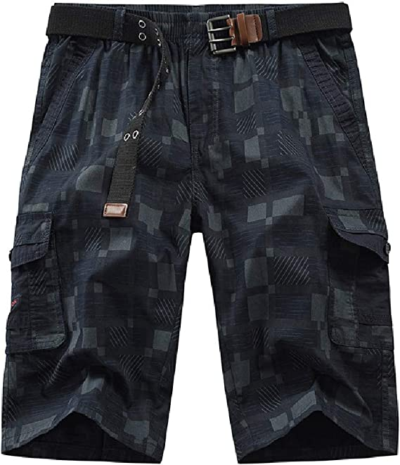 Candiyer Men's Checkered Middle Waist Relaxed Multi Pockets Tactical Combat Pants