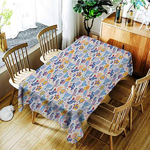 Baby Leakproof Polyester Long Tablecloth Cartoon Doodle Drawing Style Funny Infant Toys Balls Cars Teddy Bears Crayons Pattern Outdoor and Indoor use W54 x L84 Inch Pale Green ()