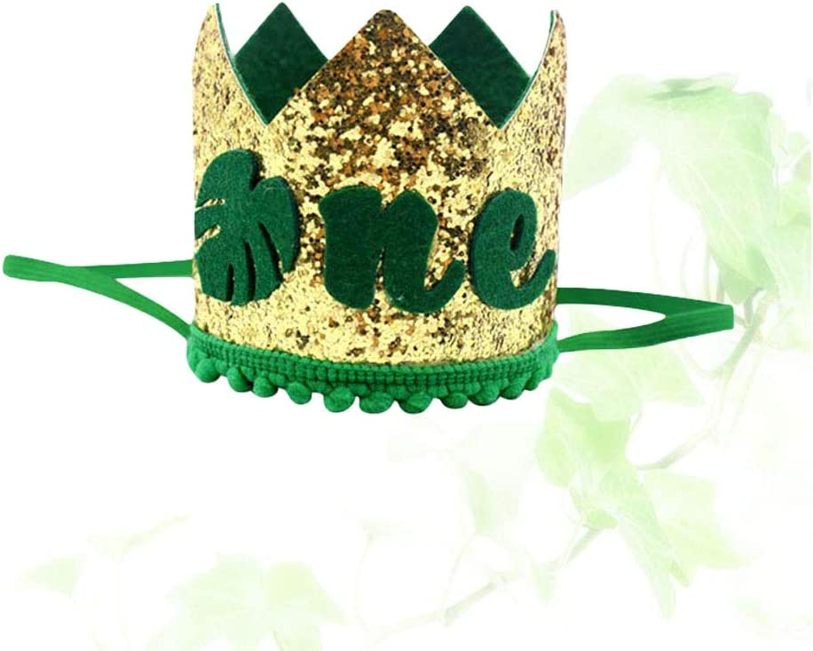 Amosfun ONE first 1st Birthday crown hat Carnival Jungle themed 1st first Birthday party favors supplies decorations 8 x 8 x 8 cm