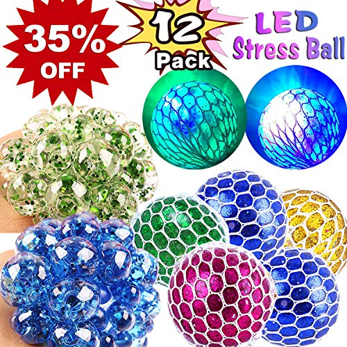 - 12 Pack LED Mesh Stress Relief Ball Toy for Kids Adult,Glow Light Up Anti-Stress Squeeze Sensory Balls Glitter Sequins Squishy Ball for ADD ADHD Autism Anxiety Hand Therapy Holiday Birthday Party Gift