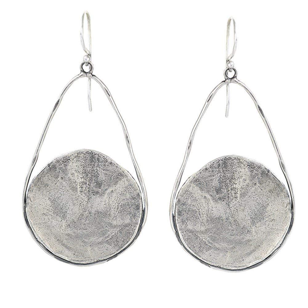 Waxing Poetic Nomad Sterling Silver Hammered Disc Teardrop Earrings by Waxing Poetic