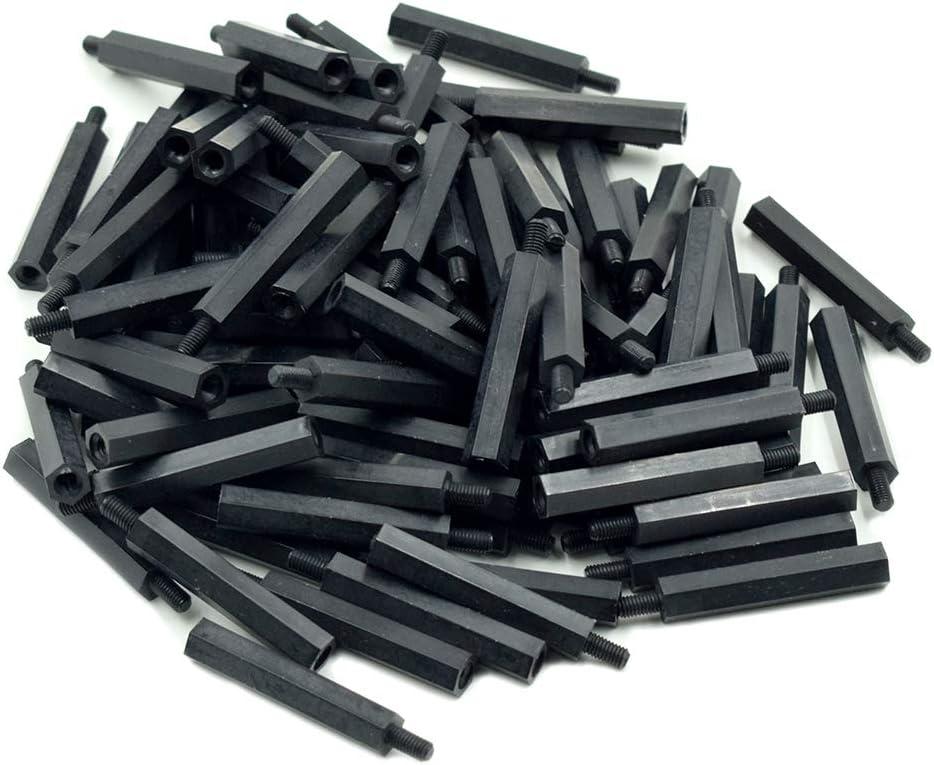 6mm Male to Female Thread Nylon Plastic Hexagon Standoff Spacer Pillars Black Hxchen 100Pcs M3 x 20mm