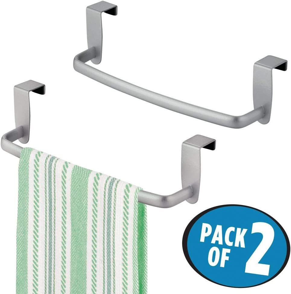 mDesign Modern Kitchen Over Cabinet Strong Steel Towel Bar Rack - Hang on Inside or Outside of Doors - Storage and Organization for Hand, Dish, Tea ...