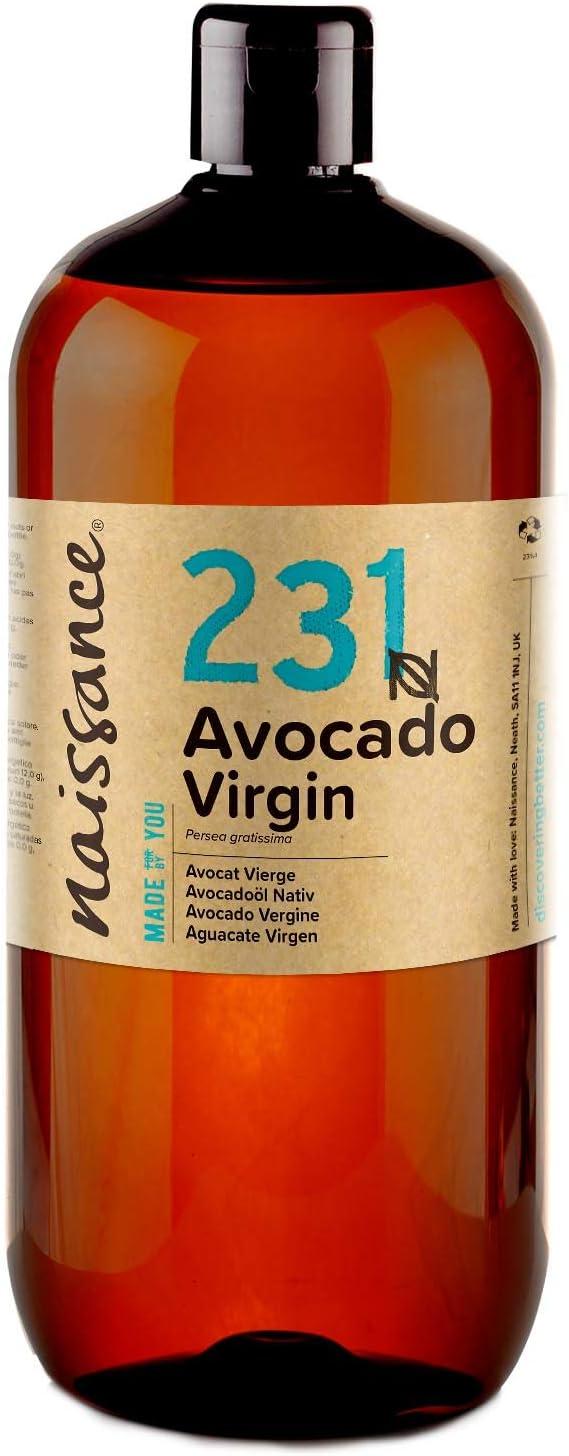 Naissance Aceite Vegetal de Aguacate n. º 231 – 1 Litro - 100% puro, virgen, prensado en frío, vegano y no OGM