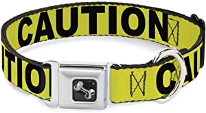 Buckle-Down Dog Collar Seatbelt Buckle Caution Yellow Black Available In Adjustable Sizes For Small Medium Large Dogs