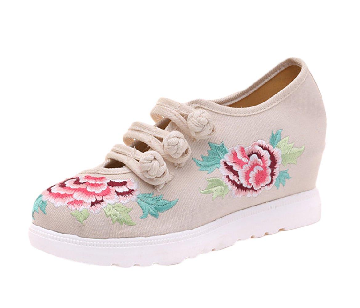 Insun Zapatos Para Mujer Diseño Bordado Alpargatas Para Mujer Mary Jane 36 EU|Beige