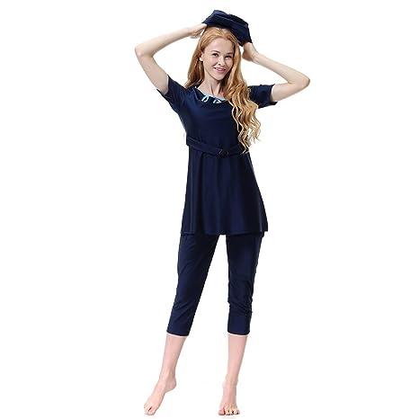 ff20dbd57d2282 FXFAN Modest Swimwear Musulmano Costume da Bagno Islamico per Le Donne  Costumi da Bagno Swimwear Hijab