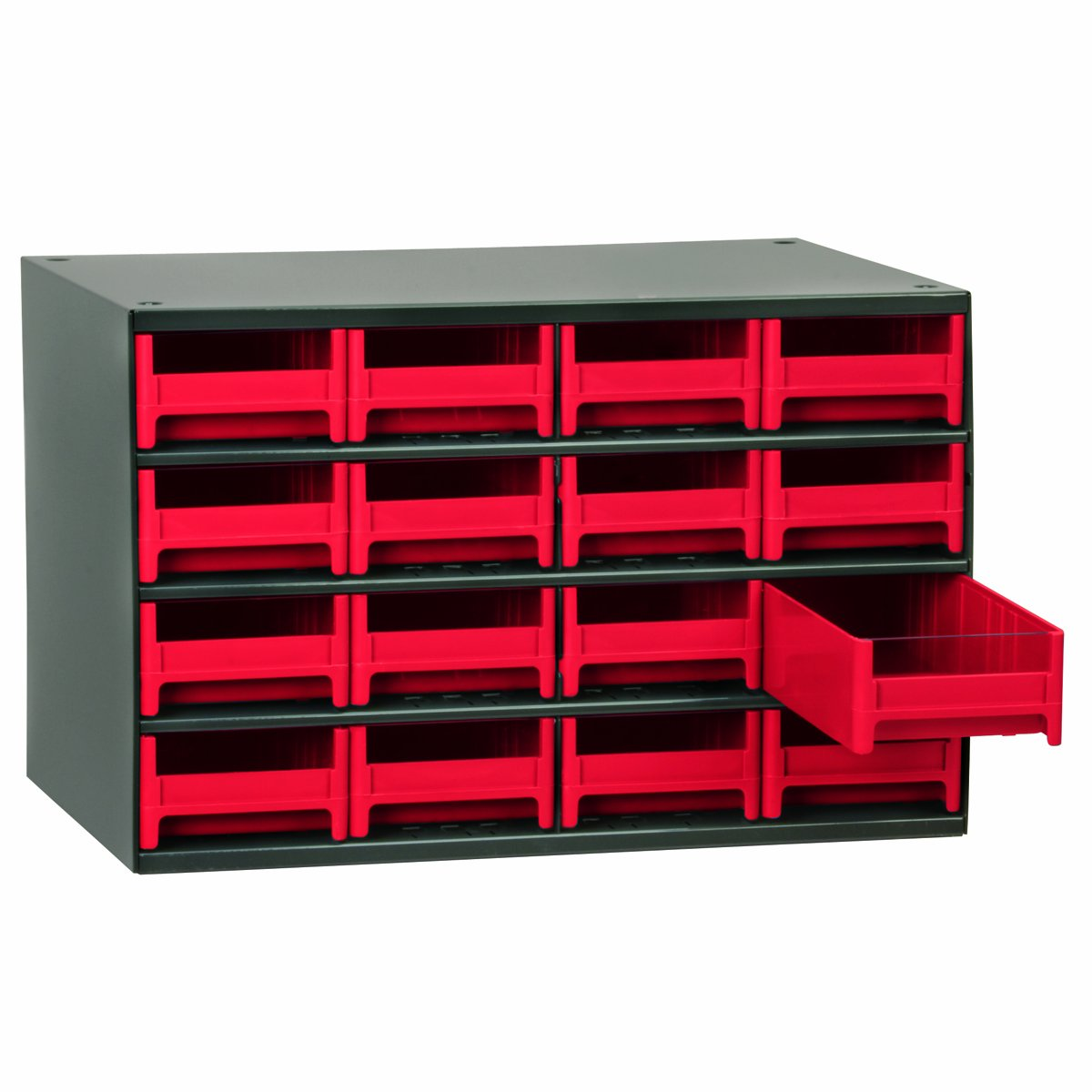 Akro-Mils 19416 17-Inch W by 11-Inch H by 11-Inch D 16 Drawer Steel Parts Storage Hardware and Craft Cabinet, Red Drawers