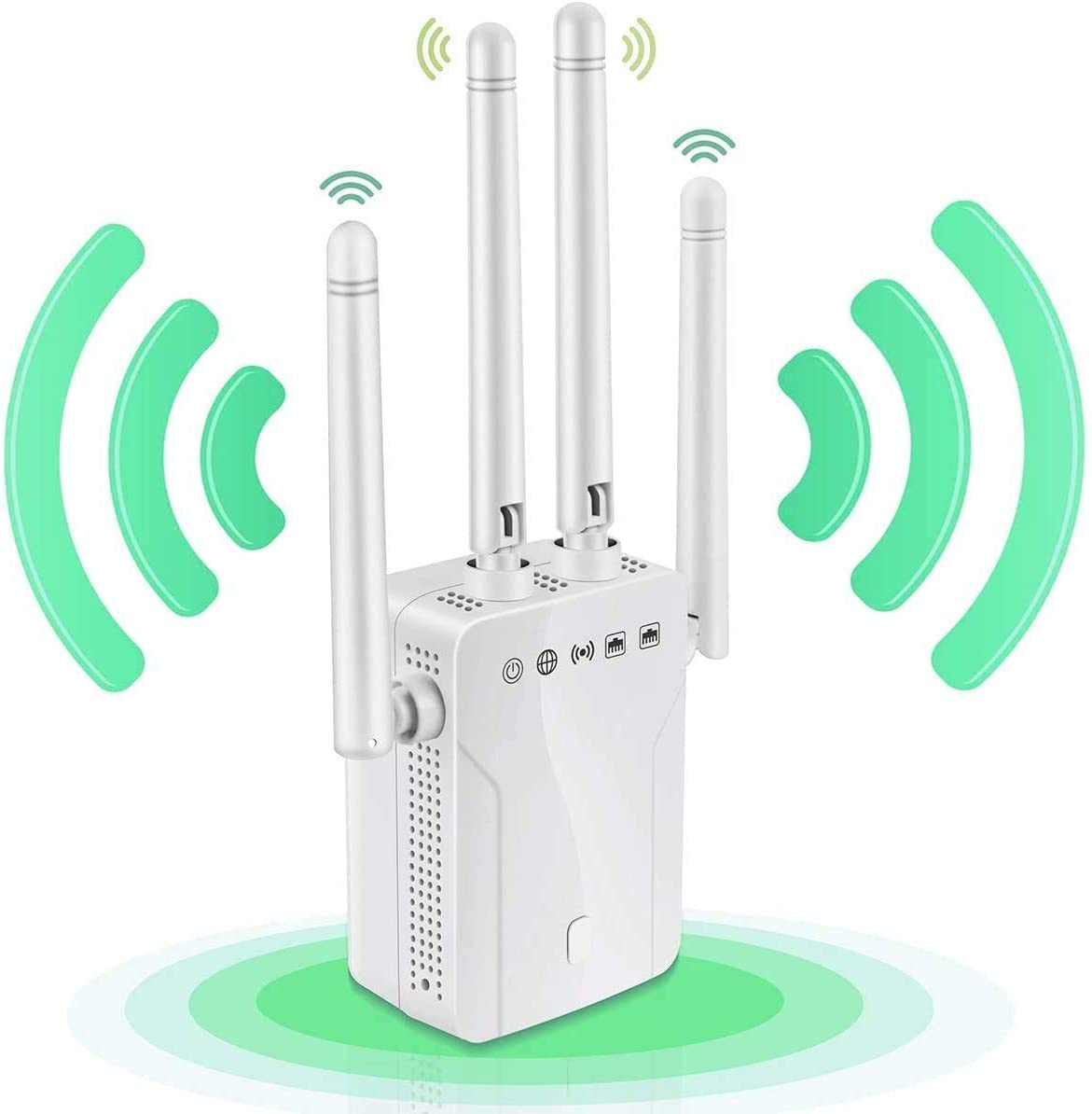 WiFi Range Extender, 1200Mbps Wireless Signal Repeater Booster, Dual Band 2.4G and 5G Expander, 4 Antennas 360° Full Coverage, Extend WiFi Signal to Smart Home & Alexa Devices(XMH1200N05)