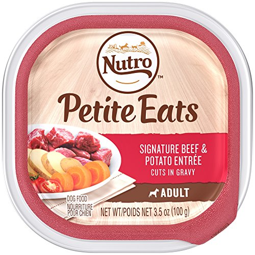 NUTRO Small Breed Adult PETITE EATS  Signature Beef & Potato Entrée Cuts in Gravy Dog Food Trays 3.5 Ounces (Pack of 24)