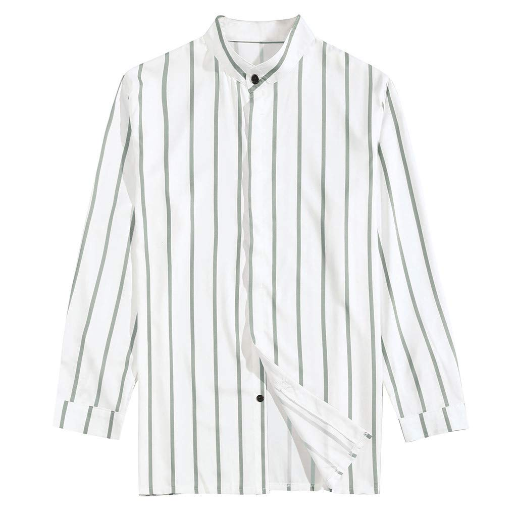 WONdere Men Summer Fashion Shirts Casual Striped Long-Sleeve Top Blouse Stand Collar