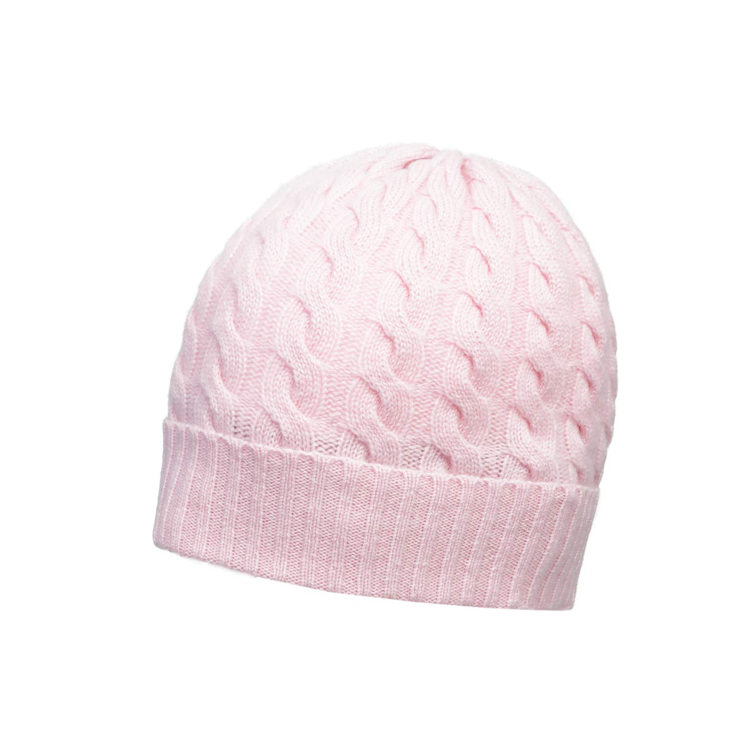 Lomond - Pure 4-Ply Cashmere Cable-Knit Beanie (Powder Pink)