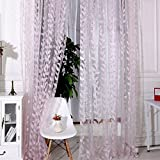 Norbi Decorative Leaf Tulle Voile Door Window Rom Curtain Drape Panel Sheer Scarf Valances (Pink)