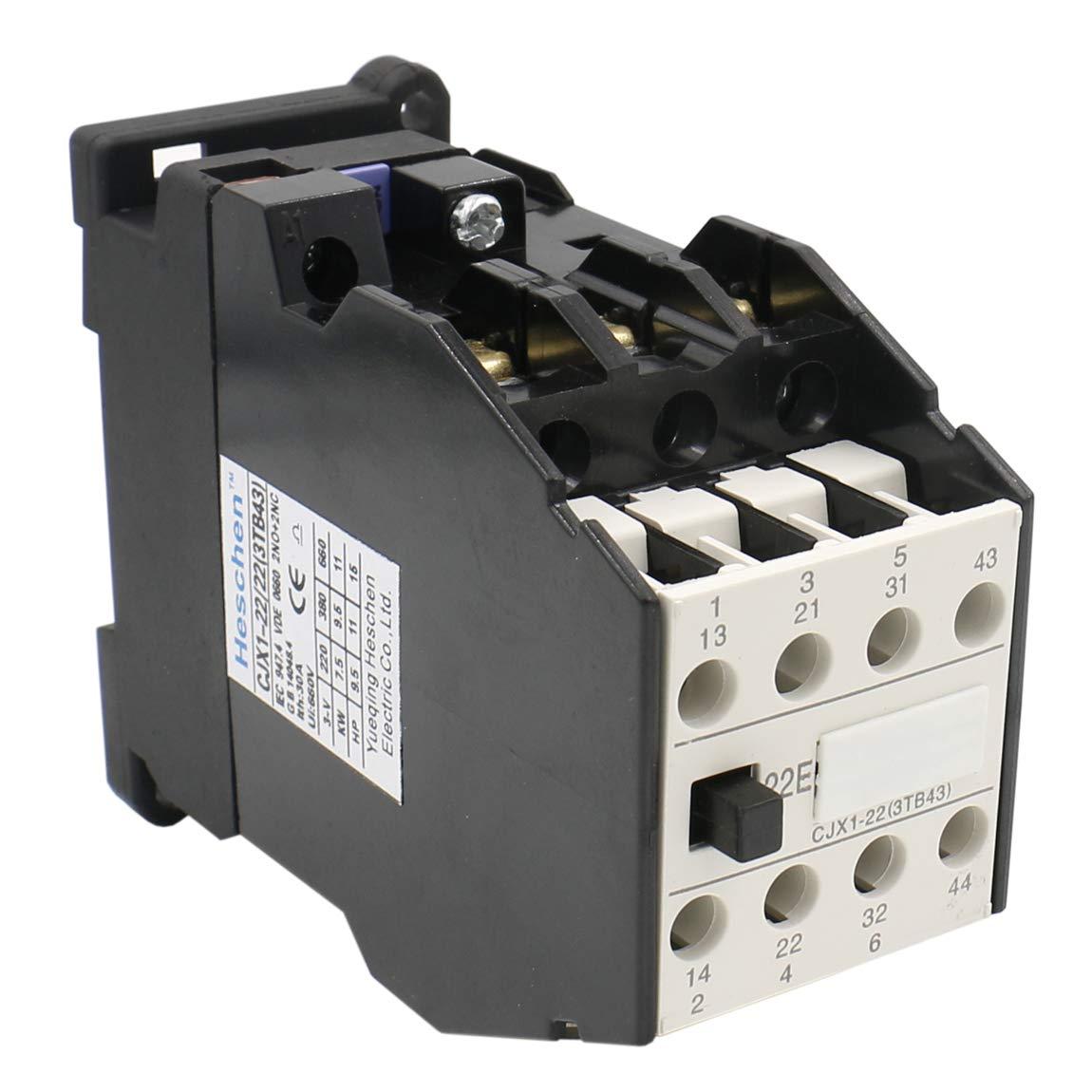 Heschen Contactor AC CJX1-22/22 Bobina de 24 V 50/60 Hz 9,5 KW 3 polos 2NO+2NC 380 V 22 A