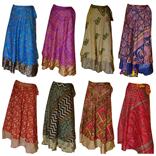 Pack of 10 Assorted Plus Size Women's Long Length Reversible Sari Art Silk Wrap Skirts L36inch