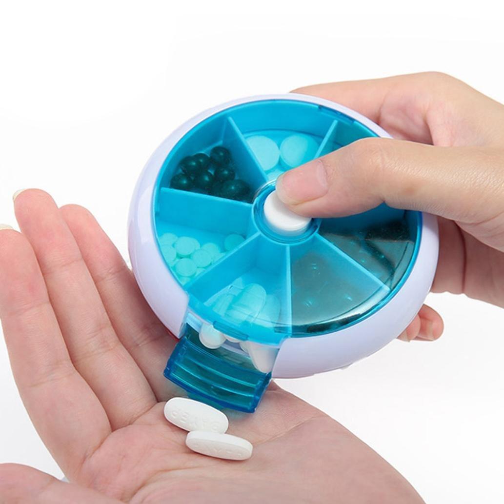 YJYdada 7-Day Round Medicine Pill Vitamin Box Case Storage Dispenser Organizer Holder (Blue)