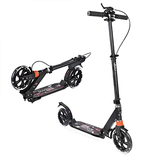 YUTODA Foldable Kick Scooter Front Rear Brake Adjustable Height Handlebars 2 Big Wheels 200mm Reinforced Deck for Adults Teens Load Capacity 220lbs