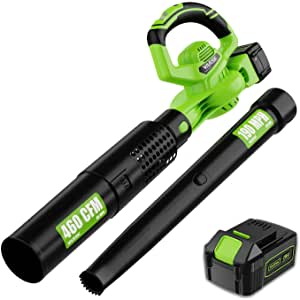 VARSK 2-in-1 Cordless Leaf Blower - 460 CFM & 190 MPH Electric Leaf Blower with 4.0Ah Battery and Charger, 6 Variable Speed Control for Blowing Leaves, Snow Debris and Dust