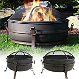 Sunnydaze Steel Cauldron Fire Pit with Spark Screen - Size Options Available