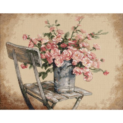 Dimensions Roses on White Chair Counted Cross Stitch Kit, 14 Count Beige Aida, 14