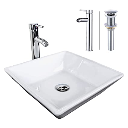 Superieur ELECWISH Bathroom Vessel Sink With 12 Inch Single Hole Brass Faucet Chrome  Combo Ceramic Square