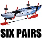 XFMT 6 Pairs Kayak Ladder Wall Mount Storage Rack
