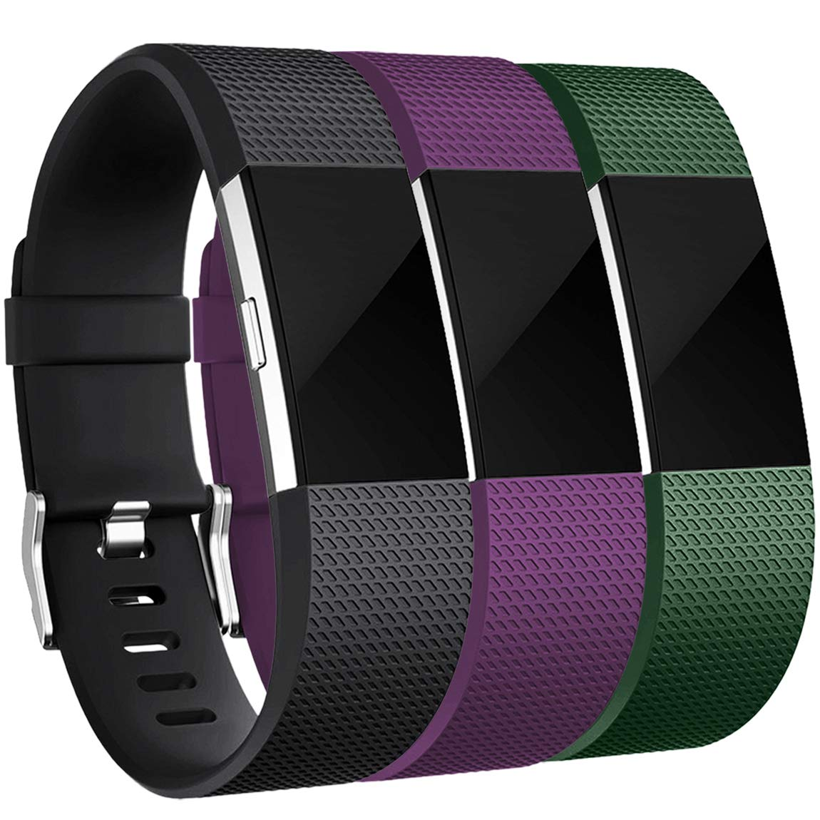 Maledan Bands Replacement Compatible with Fitbit Charge 2, 3-Pack, Small Plum/Green/Black