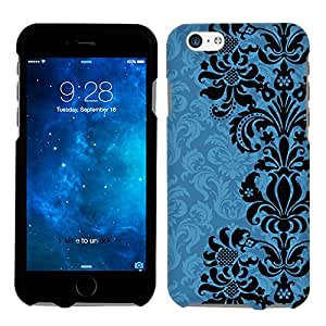Apple iPhone 6 Plus Black on Blue Floral Damasks Phone Case