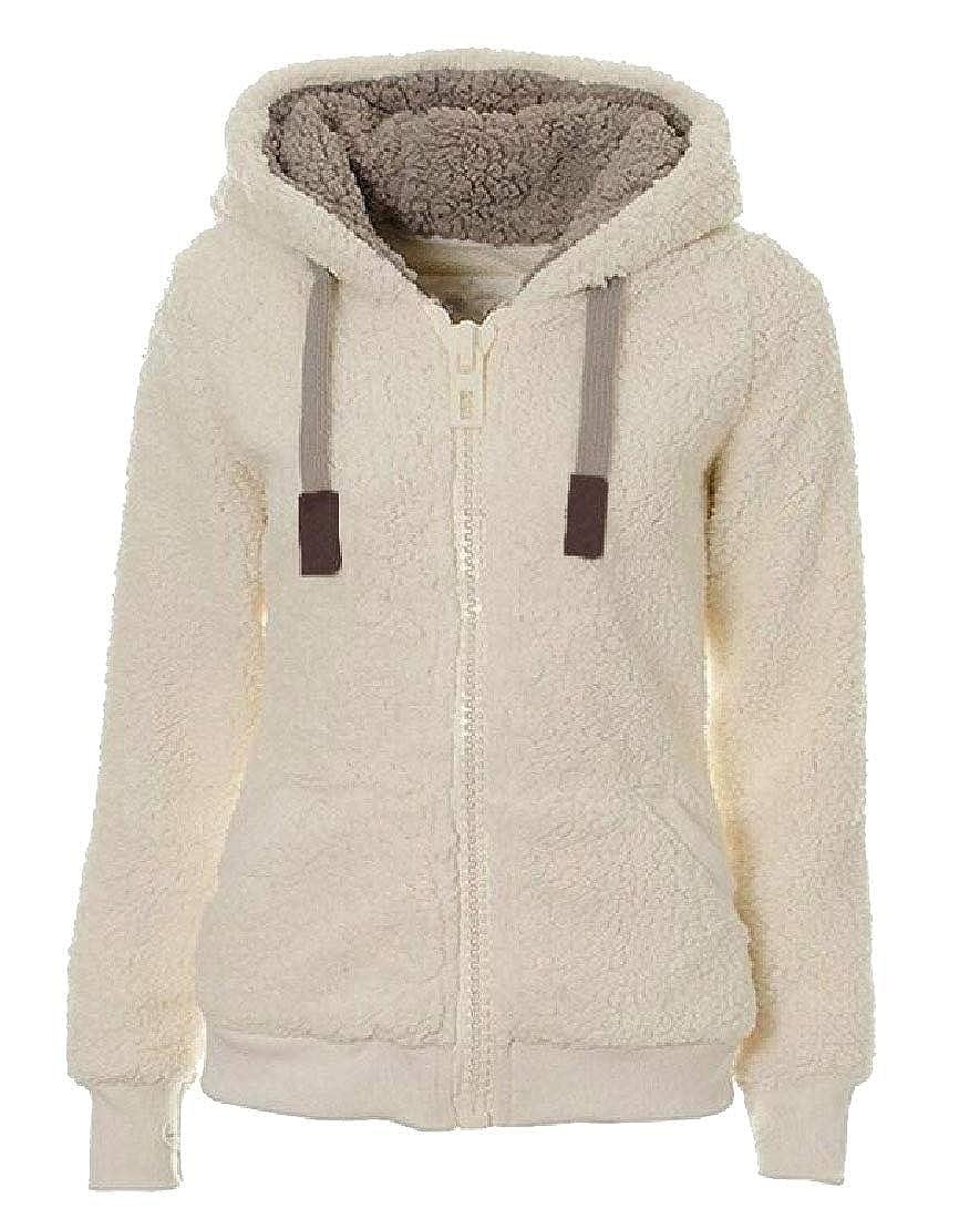 Gocgt Womens Warm Soft Sherpa Fleece Hooded Jumper Jacket Coat
