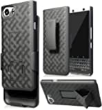 Ziaon Blackberry Keyone Case,Black Kickstand Case + Belt Clip Holster Cover For Blackberry Keyone Phone