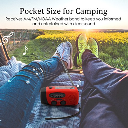 Large Product Image of [Upgraded Version]RunningSnail Emergency Hand Crank Self Powered AM/FM NOAA Solar Weather Radio with LED Flashlight, 1000mAh Power Bank for iPhone/Smart Phone