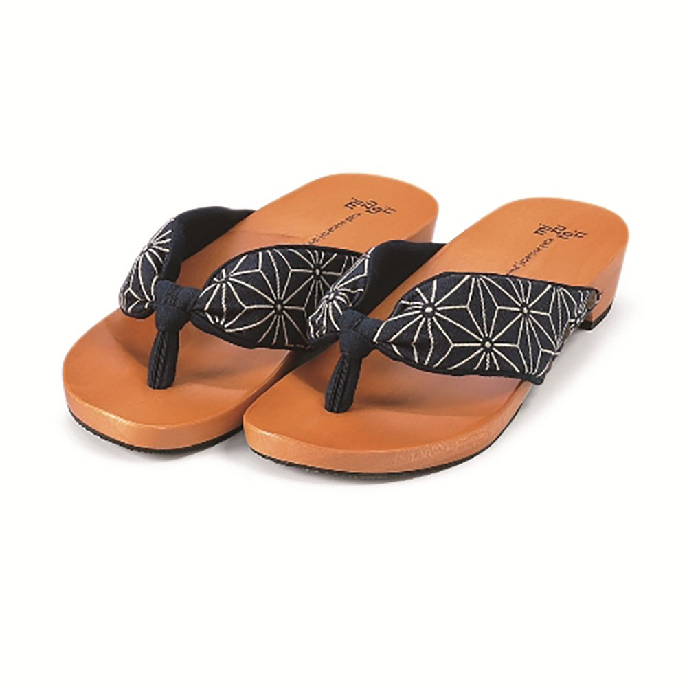 MIZUTORI Japanese Style Sandals Hemp leaves, Navy blue, 7-8 US Women / 6-7 US Men by MIZUTORI