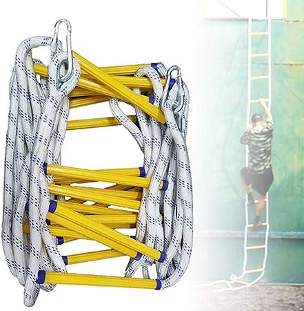 Escalera de Cuerda, Escalera Suave de Nylon MultifuncióN, Escalera de EvacuacióN de Seguridad contra Incendios de Emergencia IgníFuga con Gancho, Escalera de Incendios de 2-3 Pisos (16 Pies): Amazon.es: Jardín