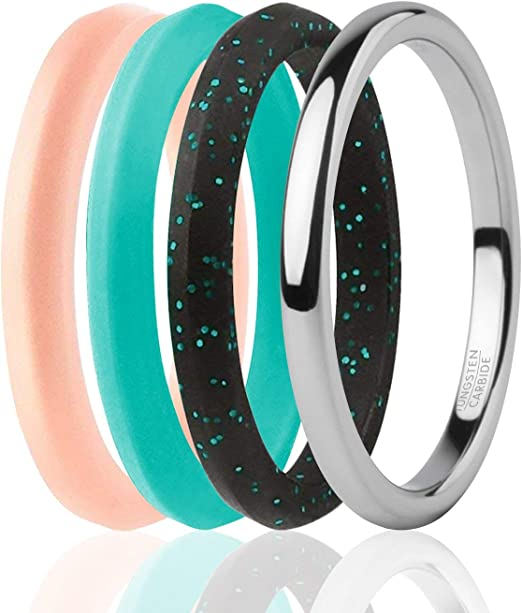 Tungsten Carbide Band for Special Events ROQ 3 Silicone /& 1 Tungsten Carbide Wedding Rings for Women 4 Pack Womens Silicone Rings for Work//Sport//Hiking Dome Comfort Fit Style