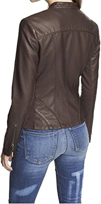 New Womens Black Leather Motorcycle Biker Jacket Soft Lambskin LFWN351