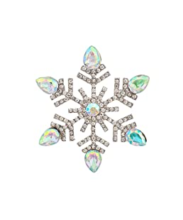 Lux Accessories Frozen Pave Snowflake Brooch Pin Xmas Christmas