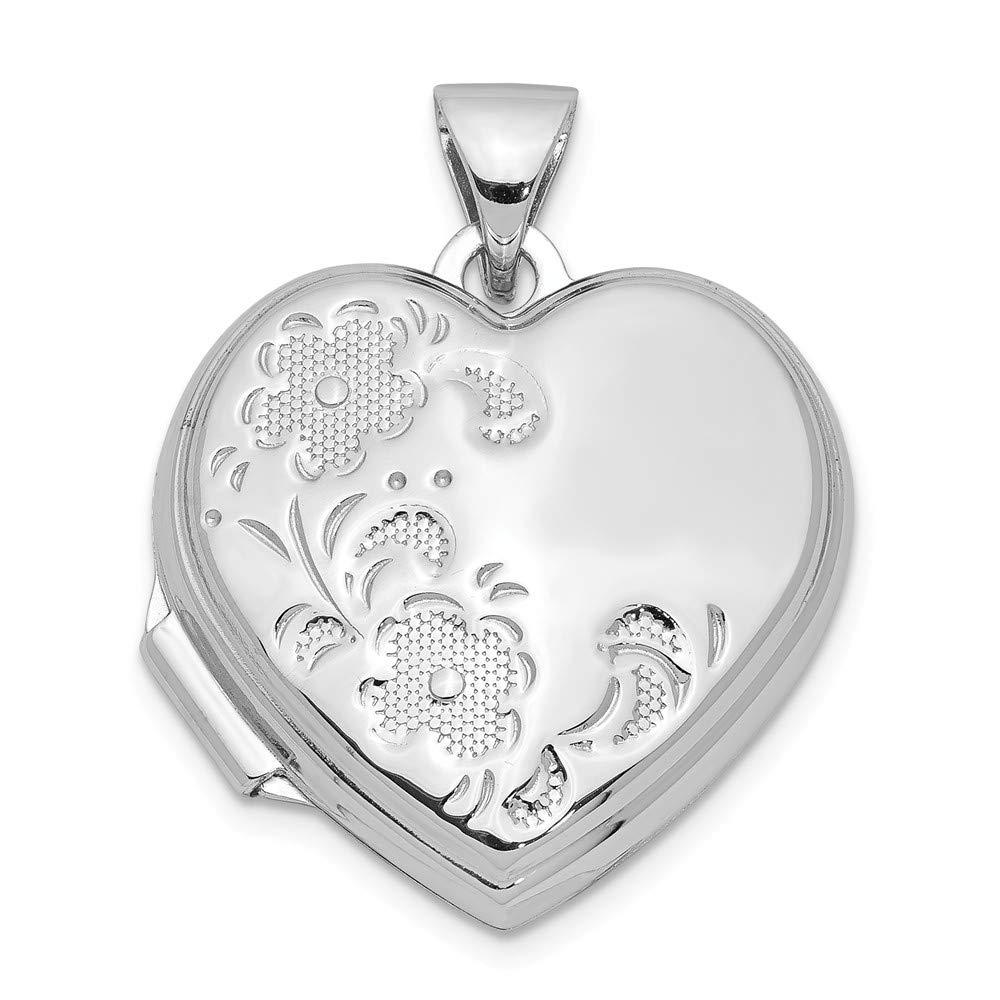 Argent sterling rhodié 18mm Cœur Floral Médaillon JewelryWeb