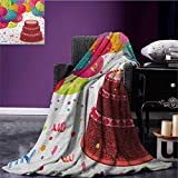 Birthday travel blanket Strawberry Triplex Cake with Candles Ribbons Balloons Newborn Celebration Theme Flannel blanket Multicolor size:60''x80''