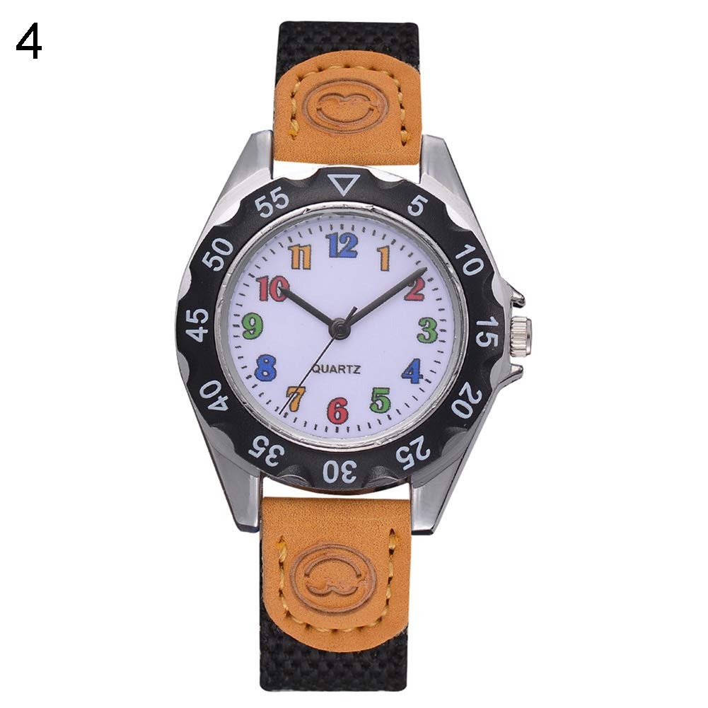 Fashion Children Kids Arabic Numbers Nylon Band Wristwatch Analog Quartz Watch Wrist Studens Watches