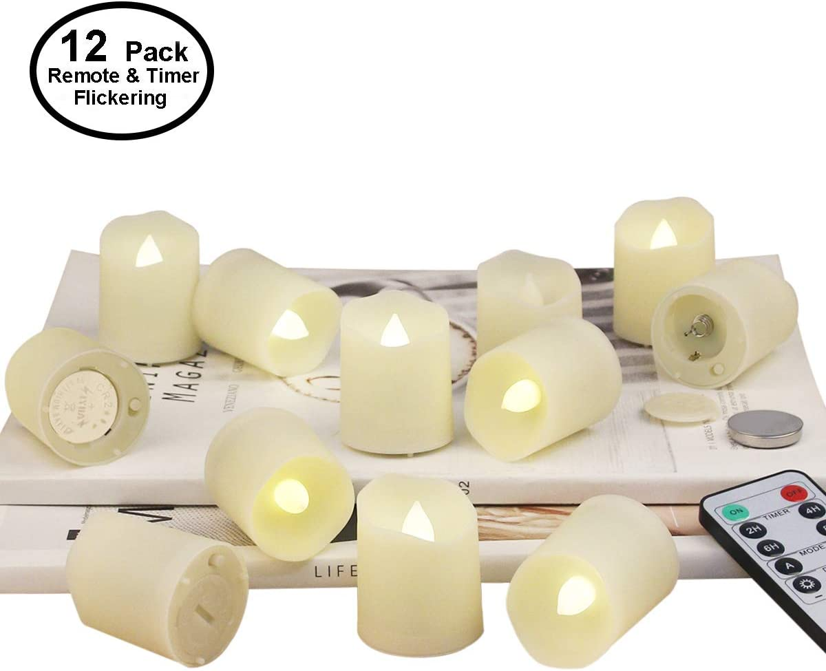 Tea Lights Battery Operated Candles with Remote Flameless Votive Candle LED Tea Light with Timer, Realistic Flickering Tealights Fake Candle Holiday Decoration Battery Remote Candles 12 Set x 1.3