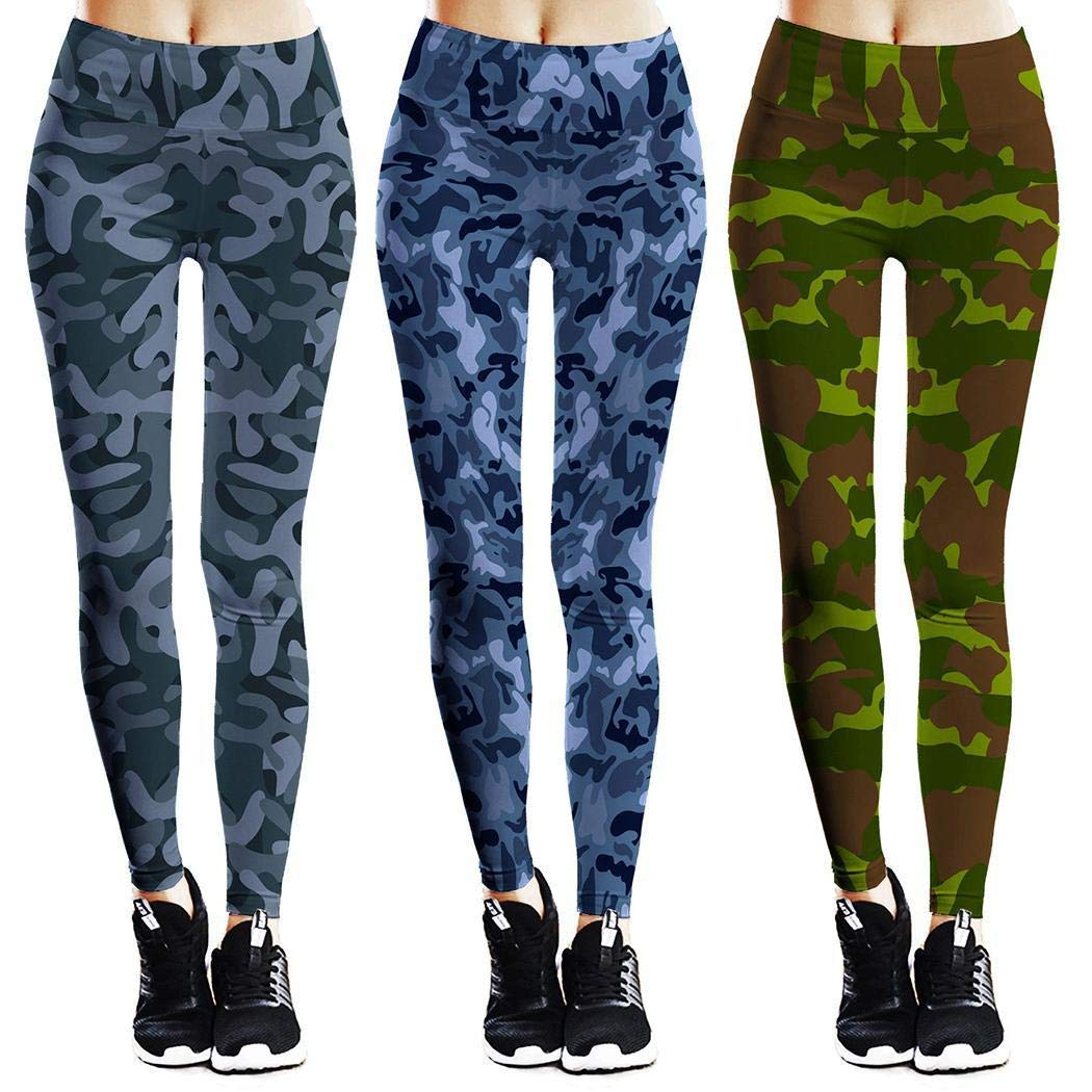 lazinem Women Casual Print High Waist Ankle Length Leggings Slim Stretch Pants Track Pants Blue
