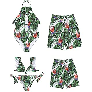19bebda7fe Family Matching Leaf Print Bikini Set Mommy&Girl Spaghetti Straps Ruffle  Sleeveless Swimsuit Daddy&Boy Swim Trunks