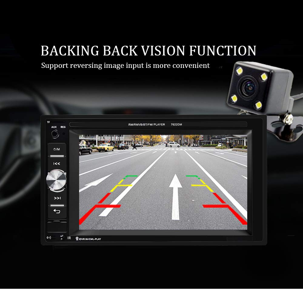 Car Parking Assistance//TF Card//FM//Mirror Link Podofo Double Din Car Stereo Built-in Bluetooth+Speaker 6.2 Inches Touchscreen car Radio in-Dash Head Unit with Steering Wheel Control