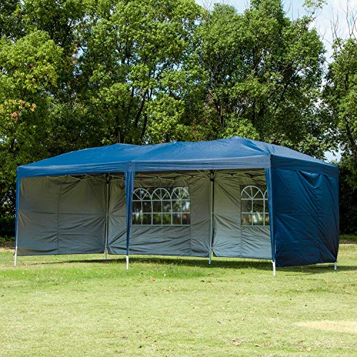 CHARAVECTOR 10x20 ft Heavy Duty Ez Pop Up Gazebo Canopy Tent for Outdoor Waterproof Party Wedding Exhibition Pavilion BBQ Beach Car Shelter with 4 Removable Sidewalls